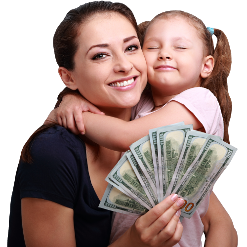 mom and daughter smiling with title pawn cash in hand